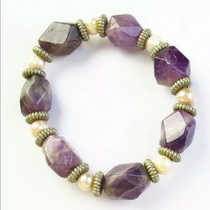 Chucky amethyst and Pearl bracelet